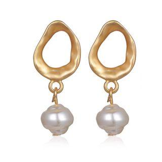 Gold Earrings with Round Pearl