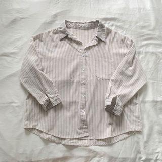 Linen Pinstriped Collar Shirt