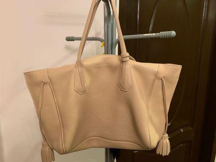 🚚 Authentic Longchamp pure genuine leather nego beige
