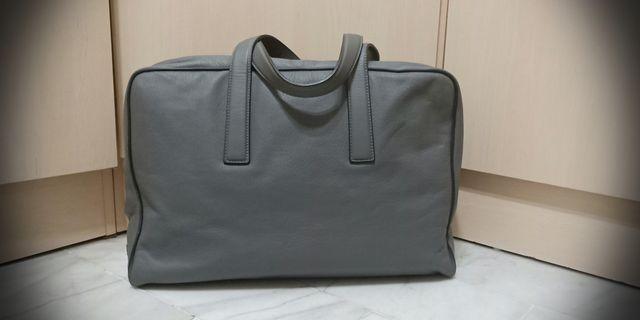 全新 Calvin Klein 灰色真皮手提公事包 行李袋