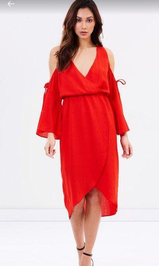ATMOS&HERE shoulder dress(RED)