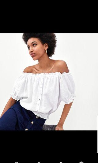 ZARA Linen Crop Top