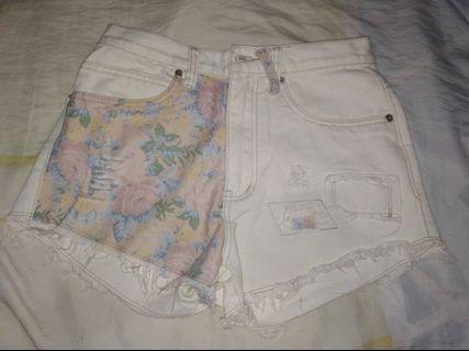 Korean Floral High Waist Denim Shorts