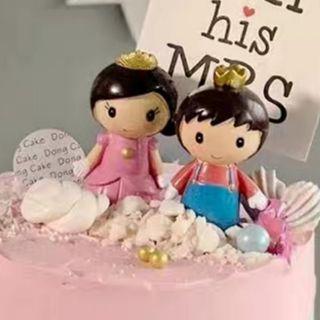 Prince and Princess couple/wedding/birthday cake topper/ car decoration