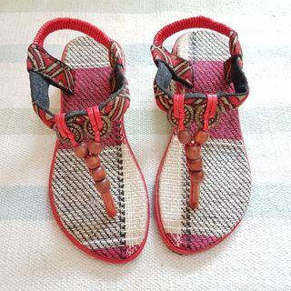 Ethnic Boho Beaded Wedge Sandals