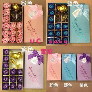🚚 (現貨)玫瑰香皂花禮盒組 12朵玫瑰禮盒 金箔玫瑰花禮盒 母親節禮物 情人節禮物