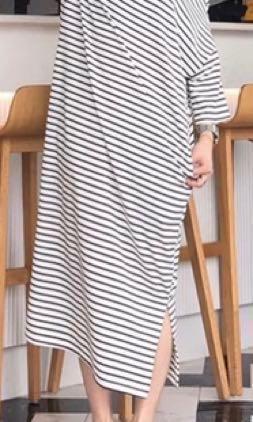 🚚 可斜肩超彈力條紋洋裝