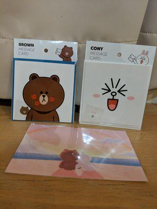 Line friends Brown & Cony Message Cards + Postcard #EndgameYourExceas