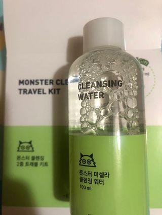 Etude House Monster cleansing travel kit Cleansing water卸妝水+Cleansing Cotton 化妝棉