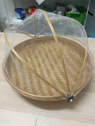 Antique Rattan Woven Food Basket/Cover