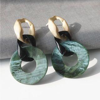Marble Statement Chain Earrings (Acrylic)
