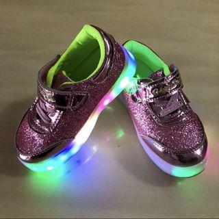 🌟HOPE STAR🌟 Girls' Pink Toddlers/ Children/ Kids Bling/ Glitter/ Sparkle Shoes/ Sneakers C/W Lights