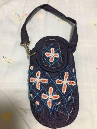 🚚 Brand new denim handphone pouch with beads