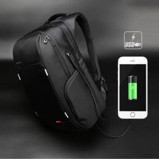 Sleek Black Travel Backpack/ Laptop Bag - With External USB port for charging your device! - New
