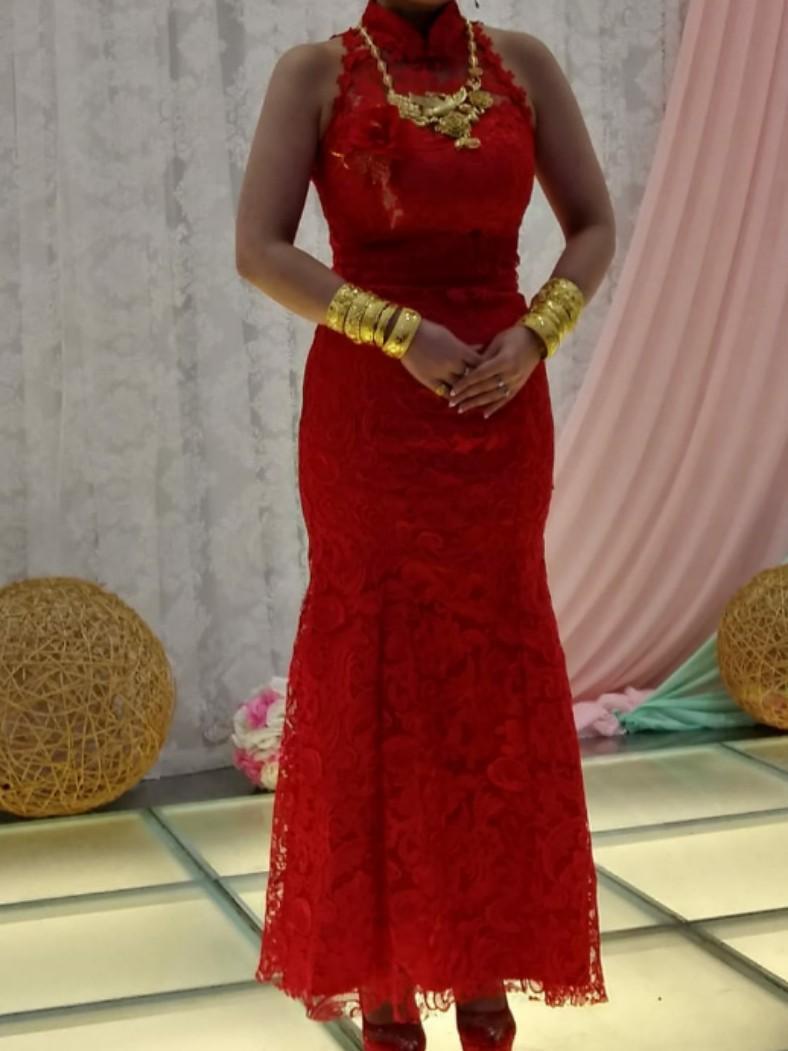 旗袍 紅色 結婚用 入膊 敬酒