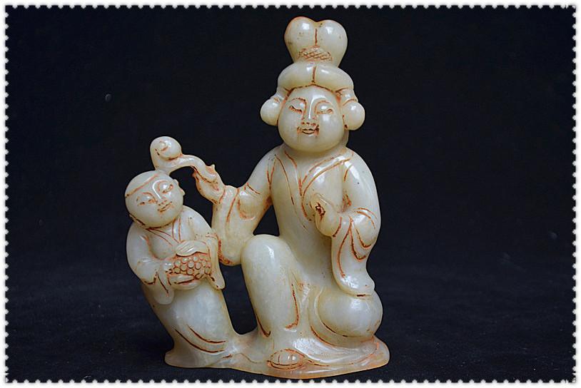 軍閥時期傳承至今 明清老玉件 和闐白玉 老雕工 唐代造像《慈母訓子》像