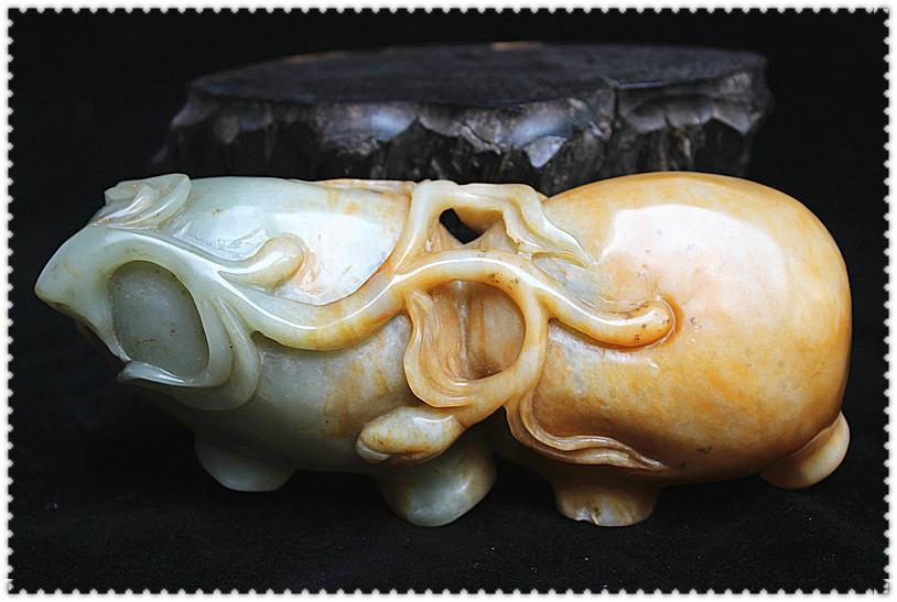 """【雅玩轩】台灣奇摩購入 民國時期 和闐糖色青白玉巧雕 荷花形 """"一洗一硯""""小筆舔"""