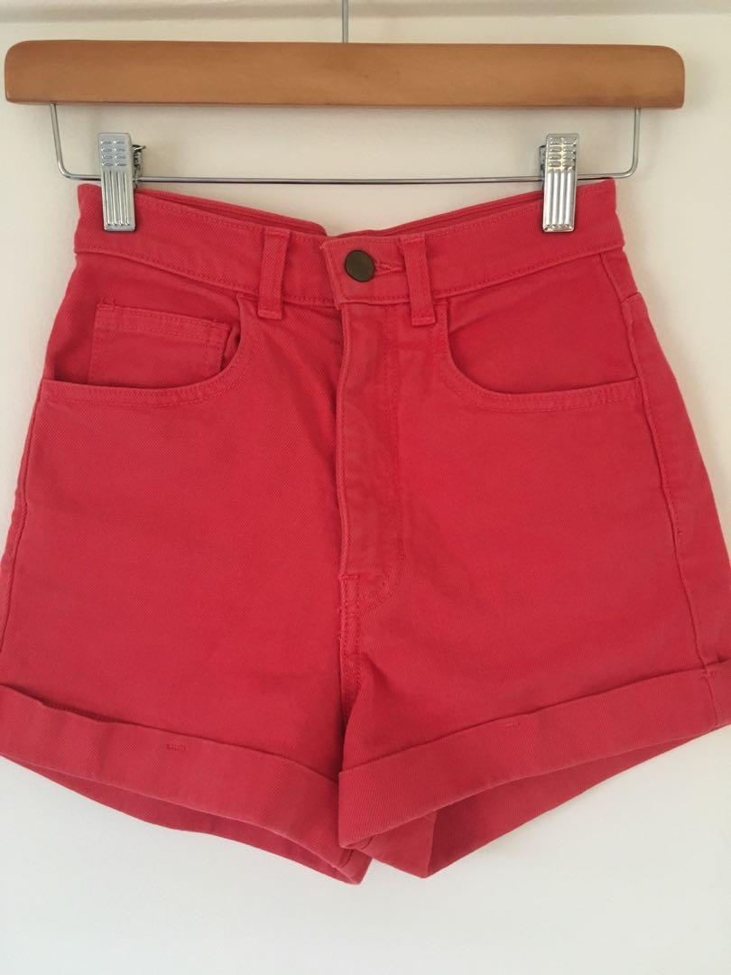 American apparel red denim cotton high waisted shorts size 6