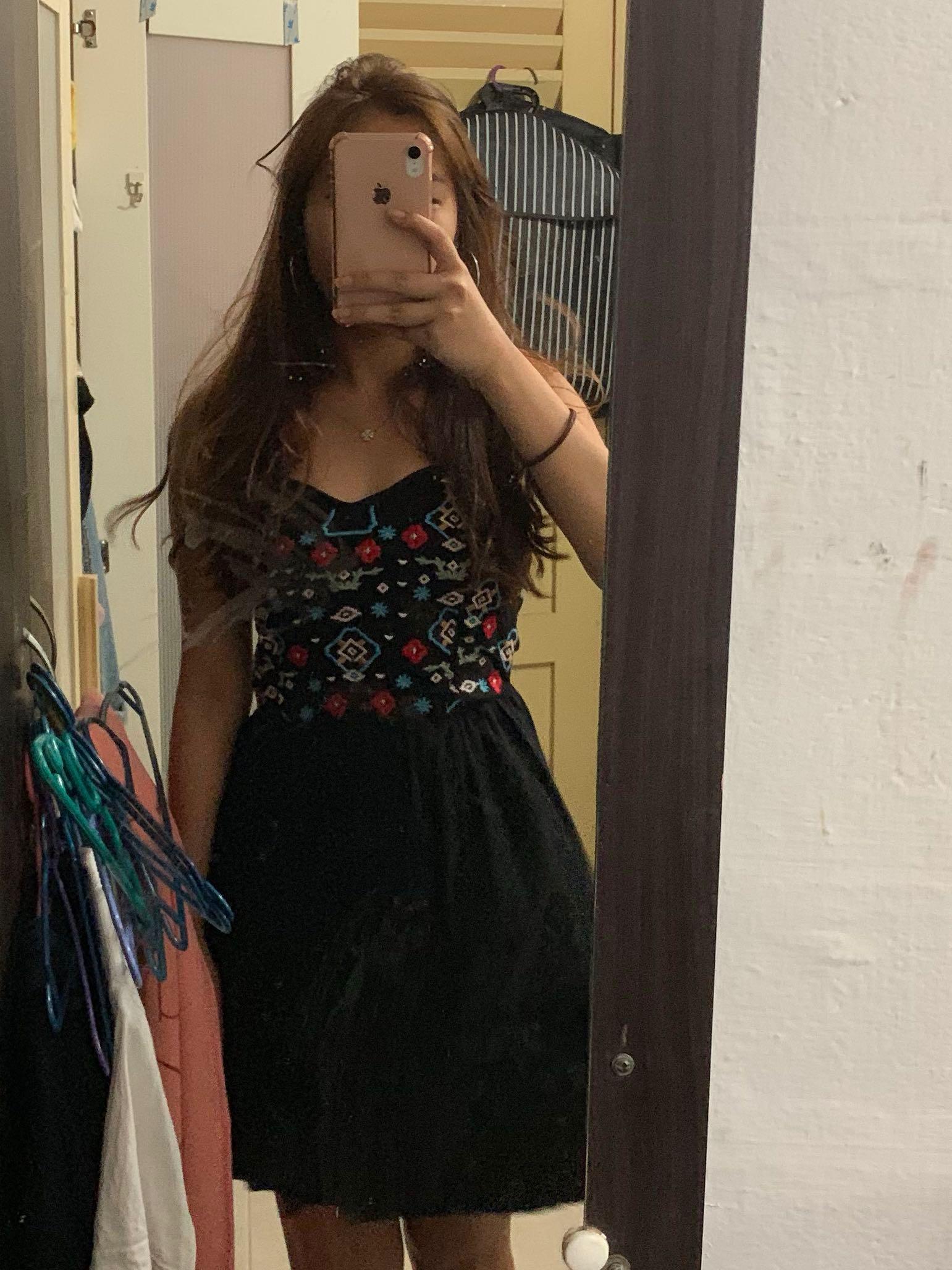 BLACK embroidery sundress