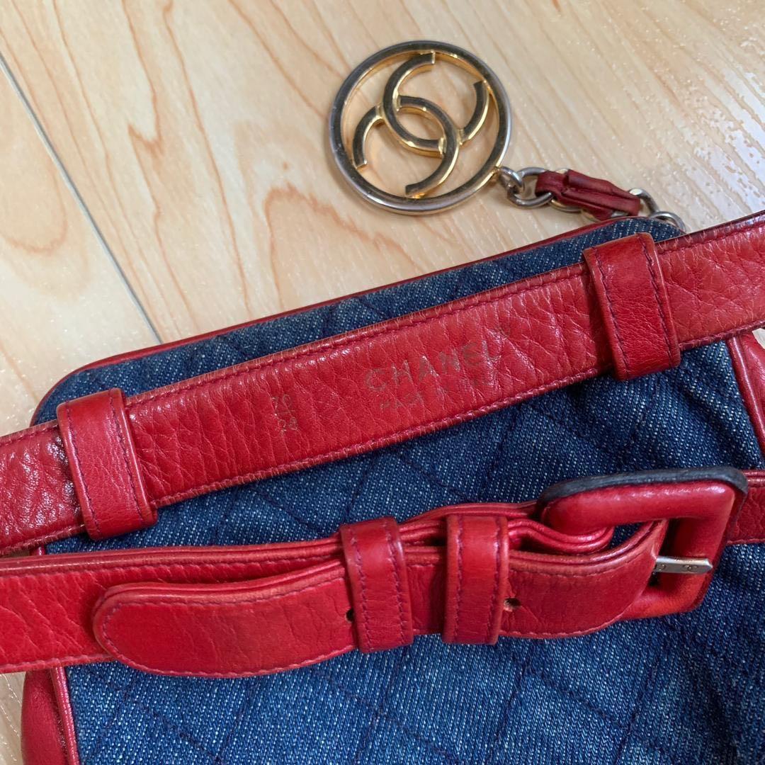 CHANEL Vintage CC Denim Red Leather Waist Bum Fanny Pack Bag
