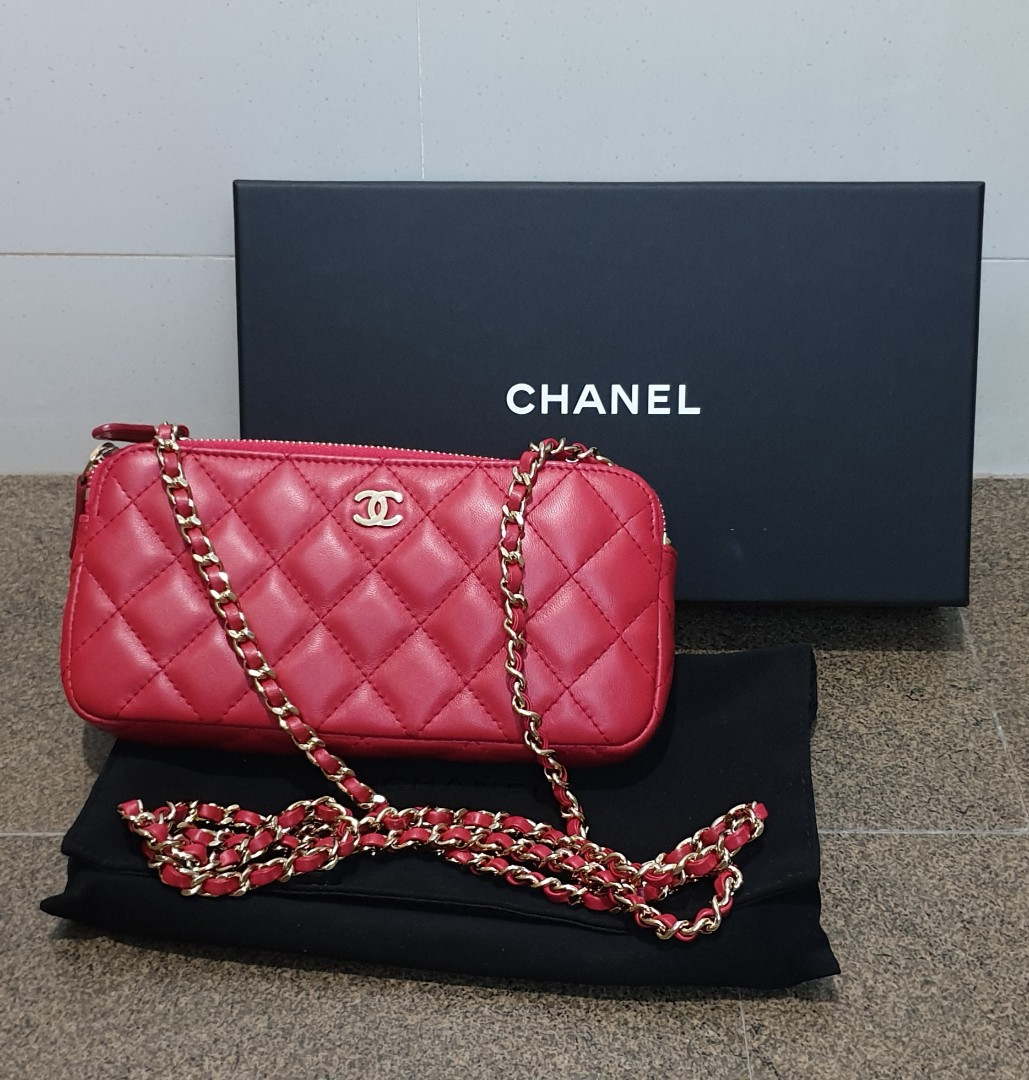 d2a25a9ab46376 Chanel Wallet On Chain Double Zip Chain Shoulder Bag, Luxury, Bags ...
