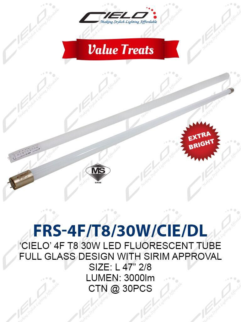 CIELO 4feet T8 30W LED Glass Tube (Daylight)