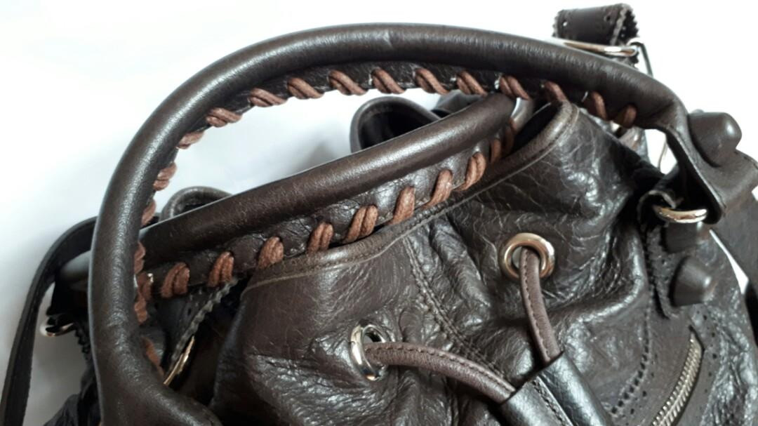 ⚠Discontinued⚠ BALENCIAGA Lambskin Leather Giant Brogues Covered Pompon Bag