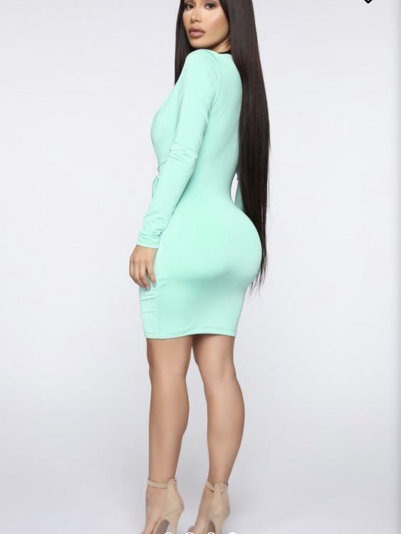 Fashionnova Mint Deep V Dress