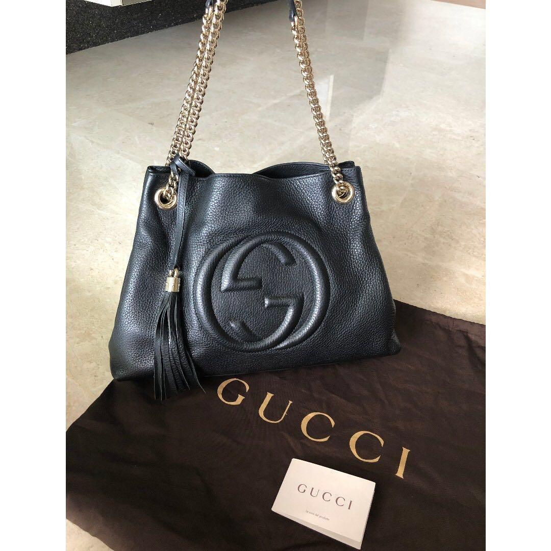 Great Condition Classic Gucci Soho Tote Bag in Black Calfskin Leather