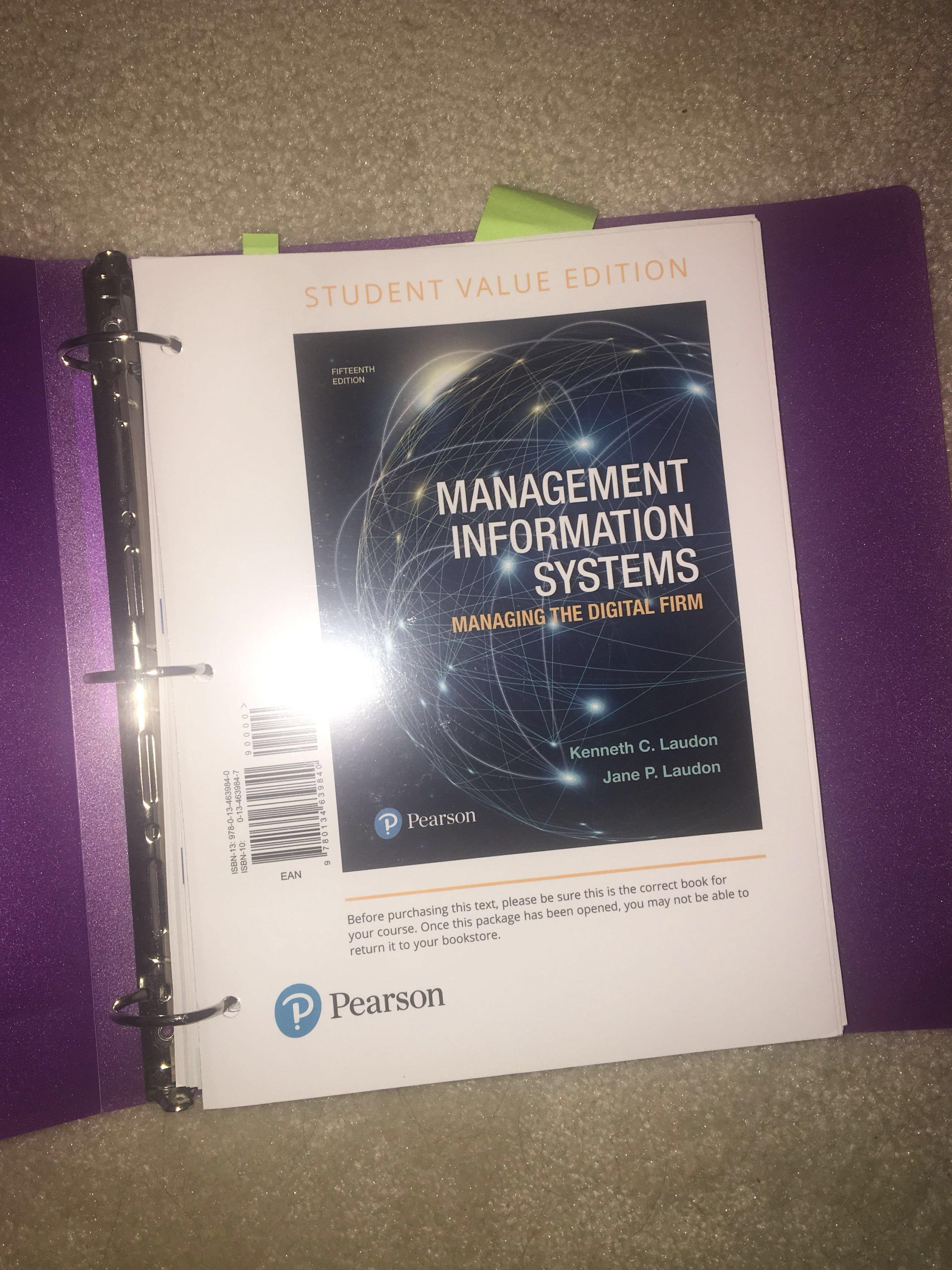 ITM 100 or 102 MANAGEMENT INFORMATION SYSTEMS