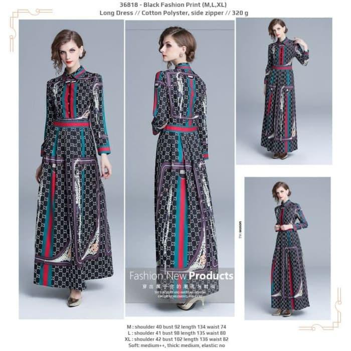 Long Dress 36818 - Black Fashion Print