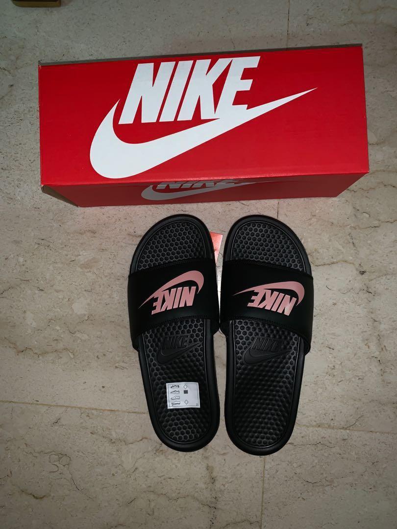 the latest cc139 c80ee Nike Benassi Slides Rose Gold, Men's Fashion, Footwear ...