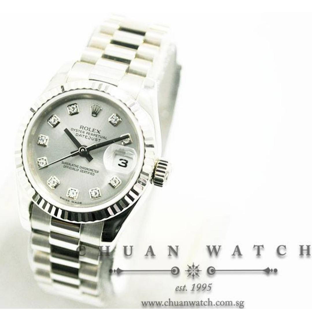 Pre-Owned Rolex Ladies' DateJust President White Gold 26mm 179179 Silver Sunburst Diamonds - Discontinued