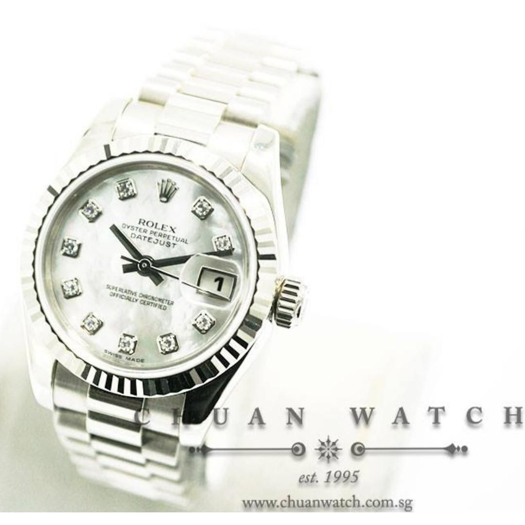 Pre-Owned Rolex Ladies' DateJust President White Gold 26mm 179179 White MOP Diamonds - Discontinued