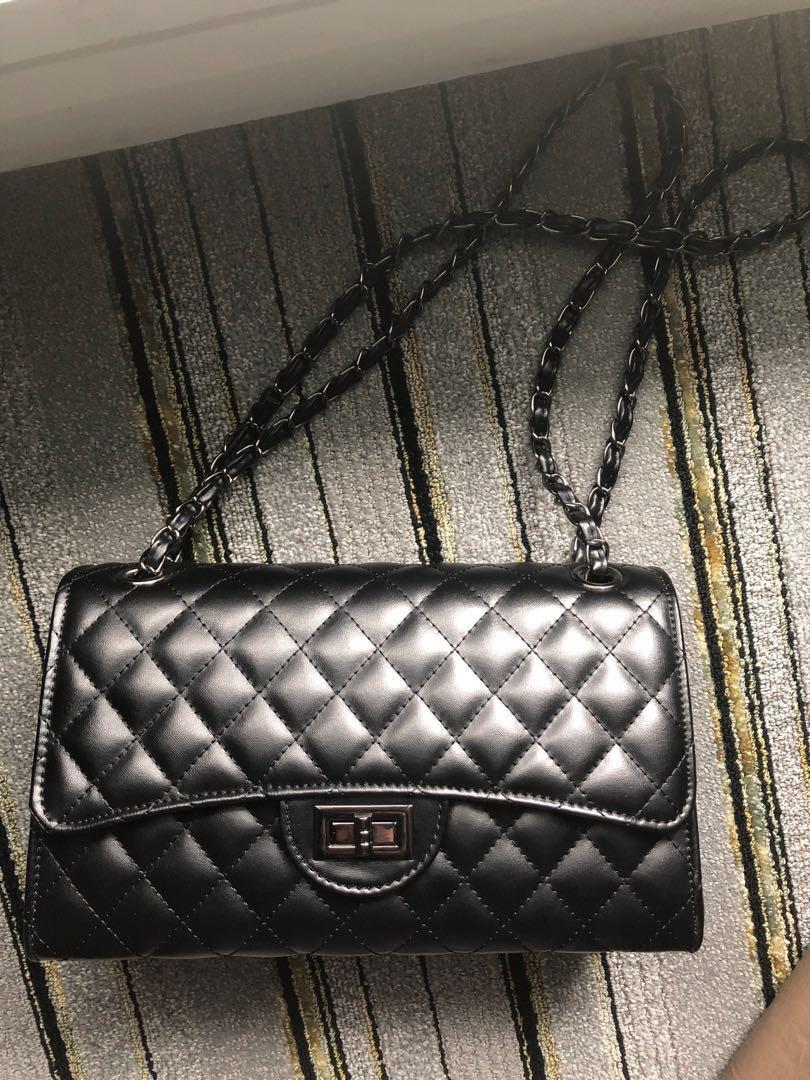 quilted black leather bag