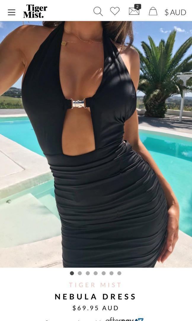 Tigermist Nebula Dress // Black, High neck, halter
