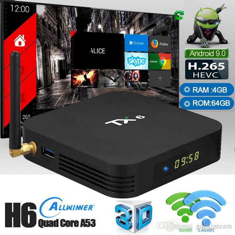 Tanix TX6 Android TV Box 2 4GHz + 5 8GHz WiFi BT5 0 - Black 4GB RAM + 32GB  ROM Digital Set Top Box Free I8 Backlight Wireless Mouse IPTV