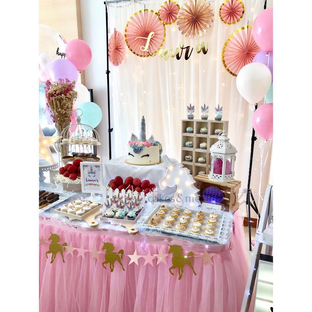 Unicorn Theme Dessert Table Setup Food Drinks Baked Goods On Carousell