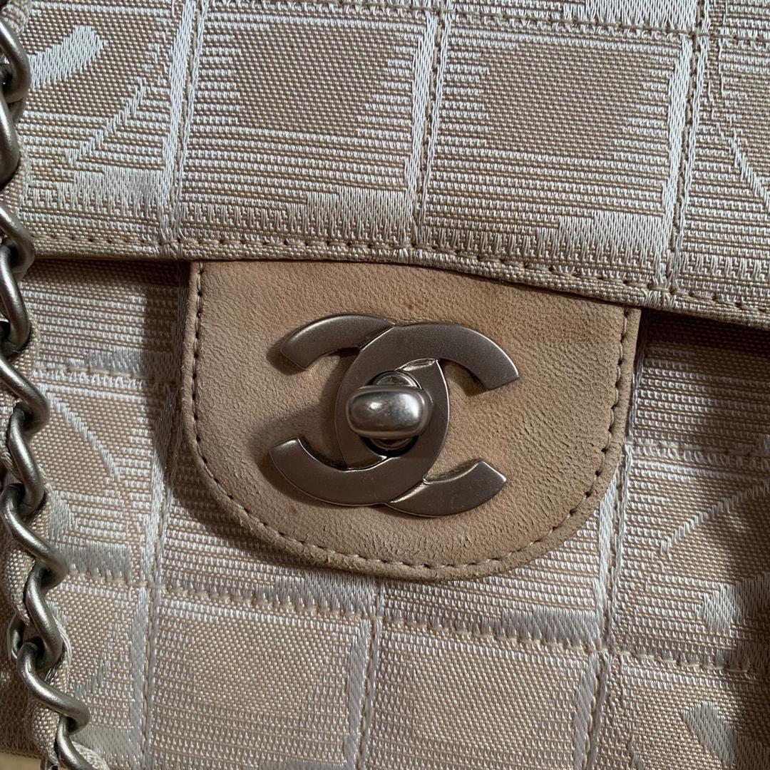 Vintage Chanel Beige Canvas CC Logos Travel Line Flap Two Way Shoulder Or Sling Bag
