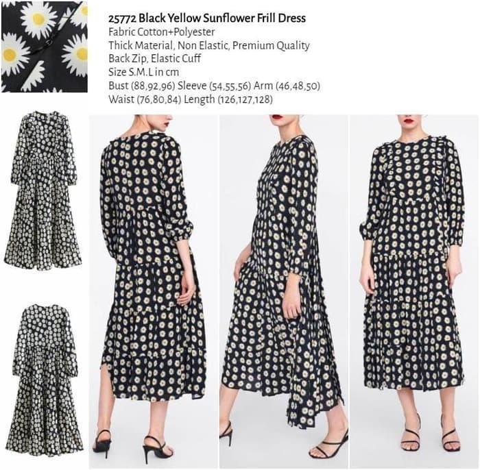 WST 25772 Black Yellow Sunflower Dress