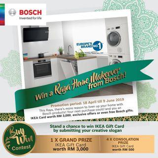 This Hari Raya, win a brand new makeover from Bosch!! 😉😉