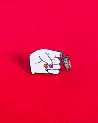 "LGBT gay pride ""It's in my blood"" enamel pin"
