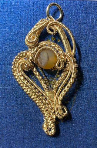 Wire Wrap Champagne Gold Plated Yellow Druzy Agate Pendant