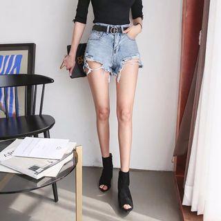 夏。性感必備 高腰顯瘦 下擺破洞撕邊牛仔短褲熱褲-Euphoria Store