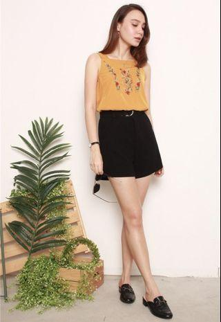 ANTICLOCKWISE ACW EMBROIDERED ROSES THICK STRAP TOP IN MUSTARD