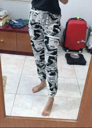 printed jogger pants comic
