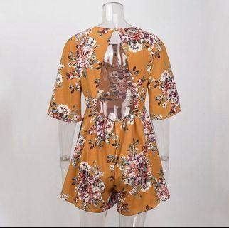 Floral Jumpsuit Backless New