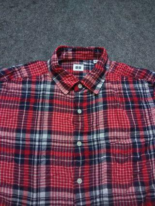 UNIQLO Plaid Linen Shirt Short Sleeve Size L