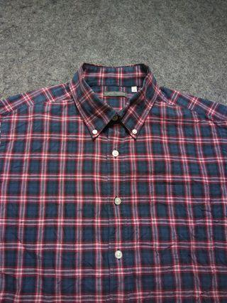 TOPVALU Button-down Plaid Shirt Long Sleeve Size L