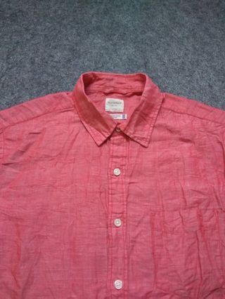 BACK NUMBER Red Linen Shirt Short Sleeve Size M